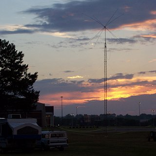 sunset over the GOTA station at the US Space & Rocket Center Field Day site